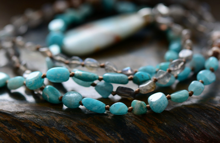 Natural Amazonite | Labradorite | Jasper Beaded Teardrop Mala Long Necklace - Egret Jewellery