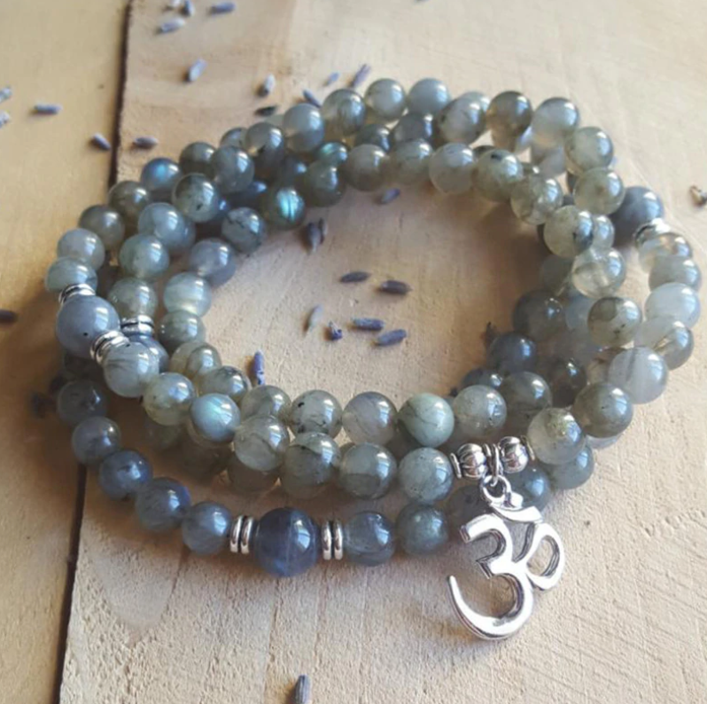 Labradorite Beaded Wrap Bracelet, Mala Beads Necklace Yoga Gemstone Om Grey - Egret Jewellery