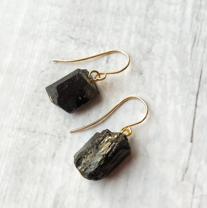 Gold Raw Rough Tourmaline Black Rock Crystal Hook Earrings Grey Irregular
