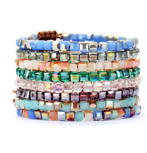 Square Green Tila Beaded Cord Friendship | Stacking Bracelet - Egret Jewellery