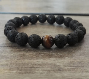 Men's Natural Lava Rock & Tigers Eye Beaded Black Cuff Bracelet - Egret Jewellery