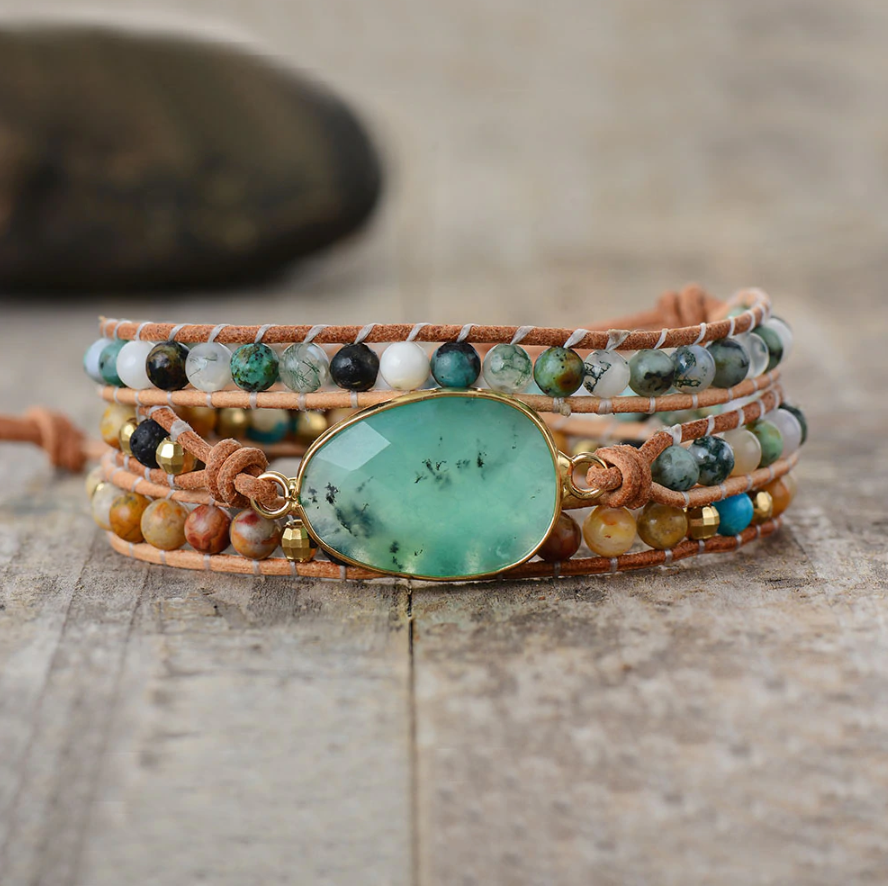 Natural Stone Beaded Jade | African Turquoise | Beads Druzy Geode Wrap Bracelet - Egret Jewellery