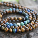 Natural Gemstone Beaded Chakra Mala Chrysocolla Tiger's Eye Necklace Brown Blue