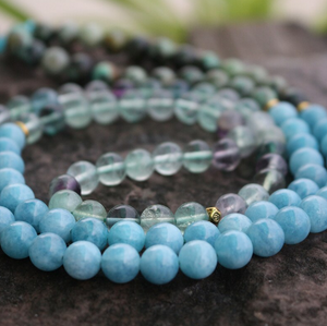 Natural Gemstone Beaded Chakra Mala Fluorite Amazonite Necklace Purple Blue - Egret Jewellery