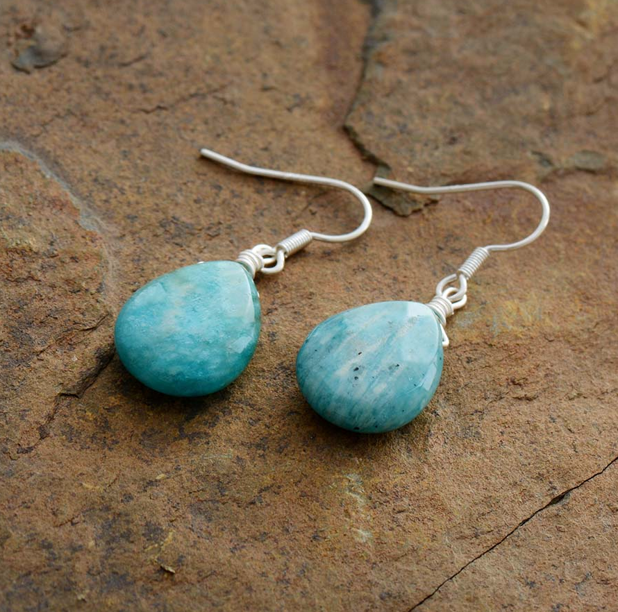 Natural Gemstone Amazonite Teardrop Drop Dangle Earrings Boho Blue Silver - Egret Jewellery