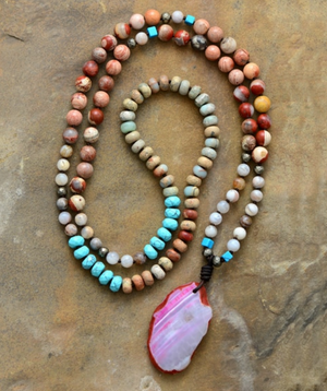 Long Beaded Geode Necklace Amazonite Boho Jasper Beads Turquoise Druzy Mala - Egret Jewellery