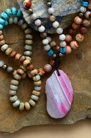 Long Beaded Geode Necklace Amazonite Boho Jasper Beads Turquoise Druzy Mala