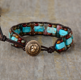 Natural Gemstone Beaded Cuff Bracelet Turquoise Jasper Leather Oblong Blue