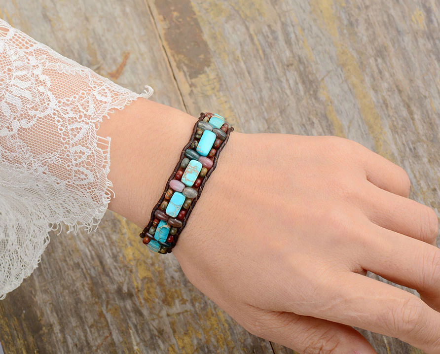 Natural Gemstone Beaded Cuff Bracelet Turquoise Jasper Leather Oblong Blue - Egret Jewellery