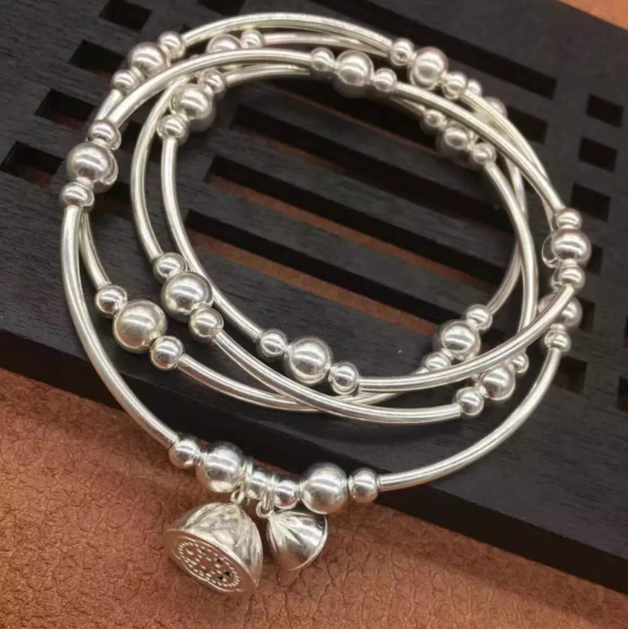 925 Sterling Silver Beaded Cuff | Wrap Bracelet Adjustable Elastic Flower Bangle - Egret Jewellery