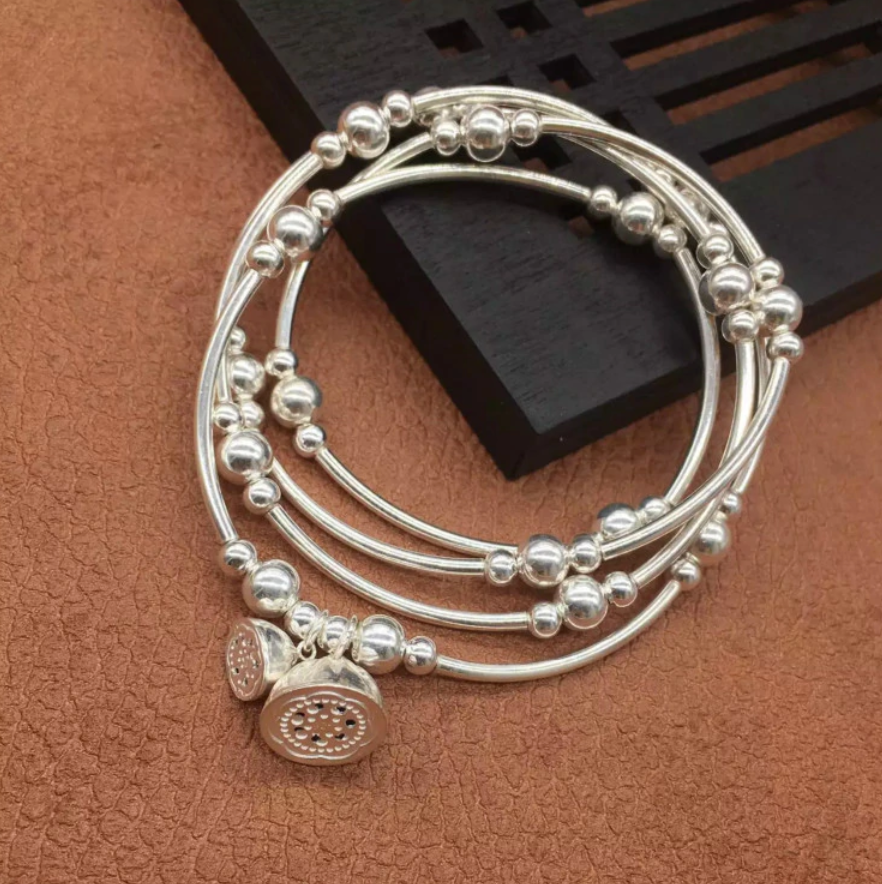 925 Sterling Silver Beaded Cuff | Wrap Bracelet Adjustable Elastic Flower Bangle