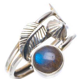 925 Sterling Silver Labradorite Gemstone Leaf Ring Stone Blue Size 8.5 R - Egret Jewellery