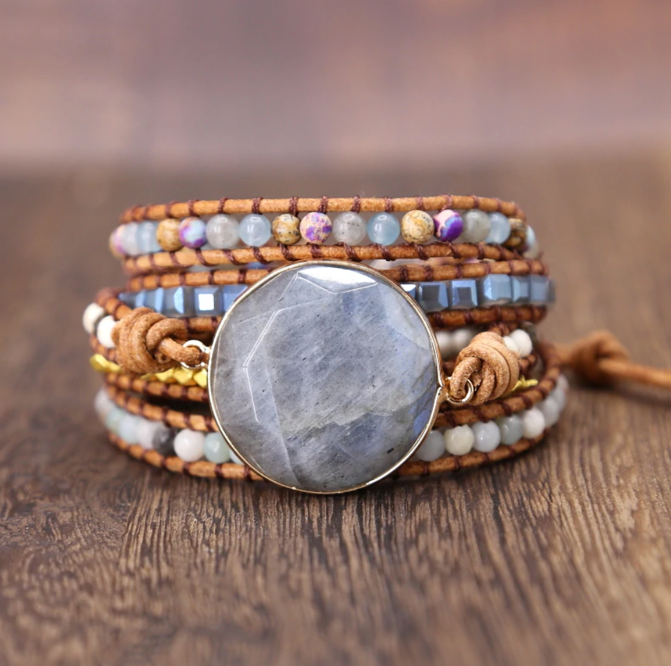 Natural Beaded Tila, Amazonite, Labradorite Geode Wrap Bracelet, Beads Druzy - Egret Jewellery
