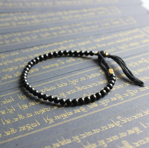 Tibetan Buddhist Black Lucky knots bracelet Men's Stacking Mantra Coconut