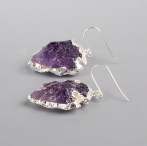 Natural Rough Raw Amethyst Earrings Silver Boho Druzy Geode Arrowhead Purple - Egret Jewellery
