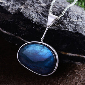 "925 Sterling Silver Labradorite Lake of Tears Blue Pendant Necklace 18"" Large - Egret Jewellery"