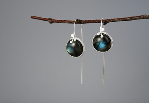 Natural Gemstone Labradorite Leaf Sterling Silver Dangle Drop Hook Earrings - Egret Jewellery