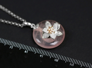 Sterling Silver Natural Rose Quartz Lotus Flower Gemstone Necklace Flowers - Egret Jewellery