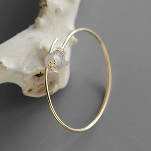 Gold-dipped 925 Sterling Silver Orchid Cuff Bracelet Adjustable Bangle Flower - Egret Jewellery