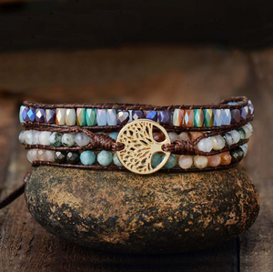 Natural Moss Agate Vegan Beaded Stacking Wrap Bracelet Tree of Life Green