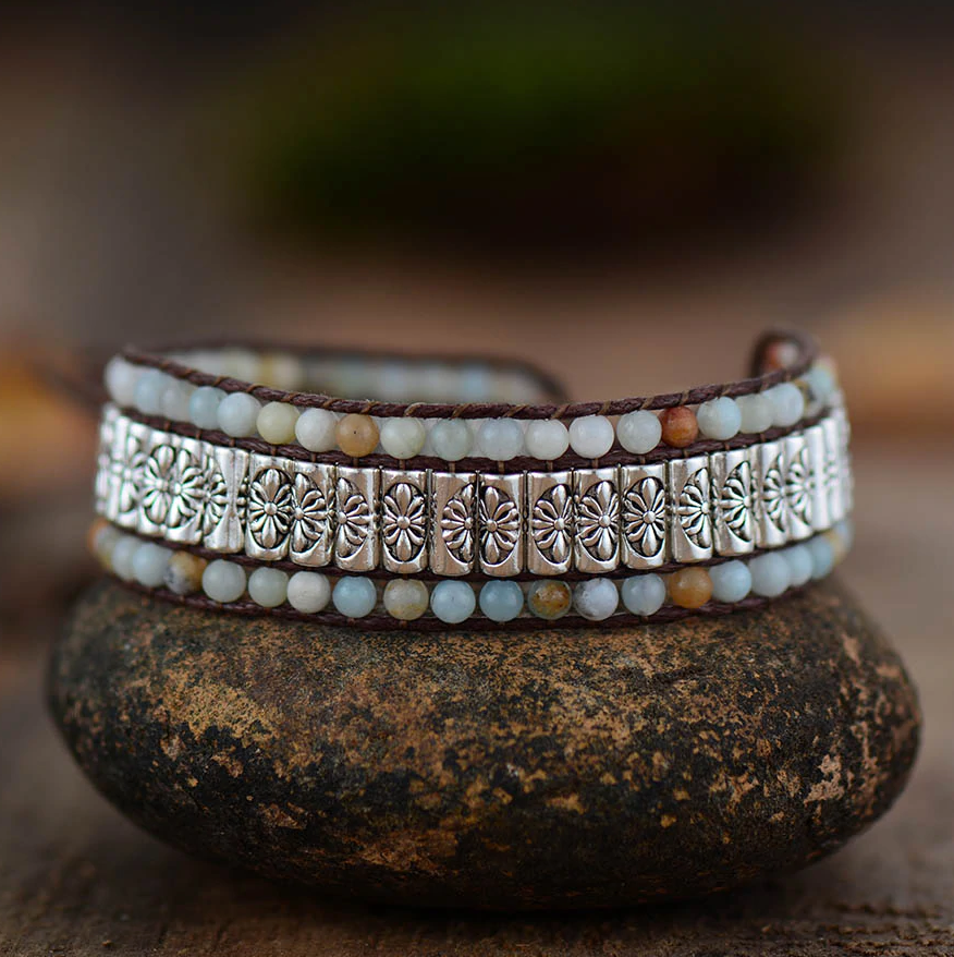 Natural Beaded Amazonite | Silver Alloy Wrap Oblong Cuff Cord Bracelet