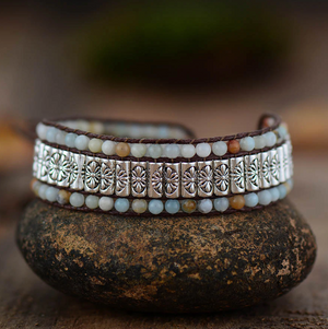 Natural Beaded Amazonite | Silver Alloy Wrap Oblong Cuff Cord Bracelet - Egret Jewellery