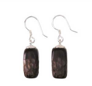 Natural Wooden Ebony Sterling Silver Dangle Drop Rectangle Earrings Wood - Egret Jewellery