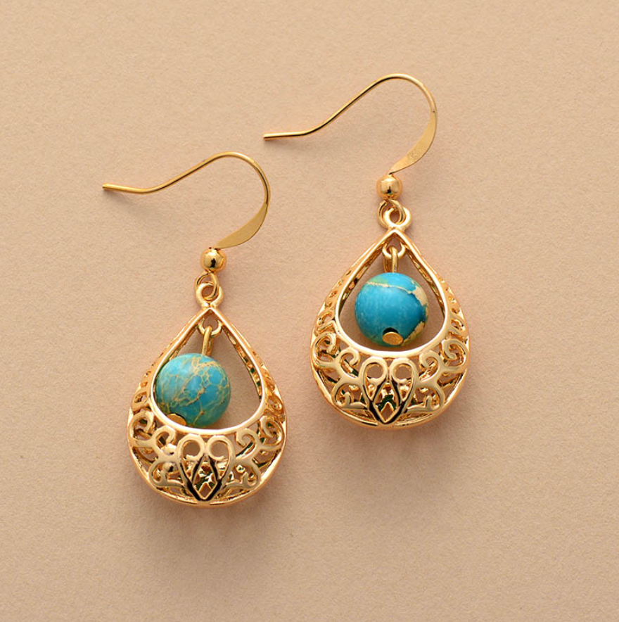 Natural Gemstone Turquoise Gold Dangle Drop Boho Earrings - Egret Jewellery