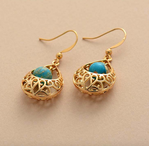 Natural Gemstone Turquoise Gold Dangle Drop Boho Earrings