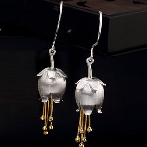 Solid 925 Sterling Silver, Bell Lily Flower Drop Gold Dipped Hook Earrings - Egret Jewellery