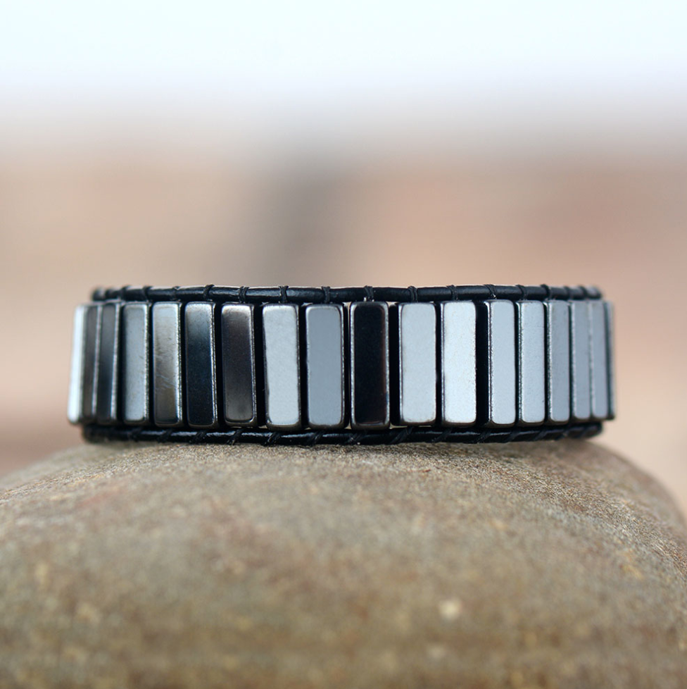 Beaded Hematite Leather Wrap Cuff Bracelet, Square Silver Mens Oblong Stacking