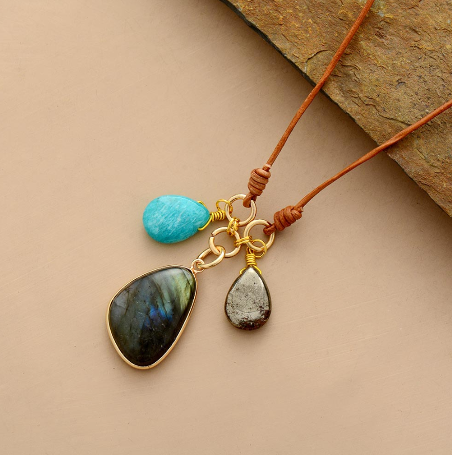 "Natural Labradorite | Pyrite | Amazonite Charm Leather Pendant Necklace 18"" - Egret Jewellery"