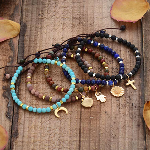 Natural Turquoise Beaded Stacking Friendship Moon Charm Bracelet Gold Stacks - Egret Jewellery