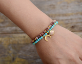 Natural Turquoise Beaded Stacking Friendship Moon Charm Bracelet Gold Stacks
