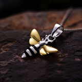 "925 Sterling Silver | Gold Bumble Bee pendant Necklace 18"" Chain"