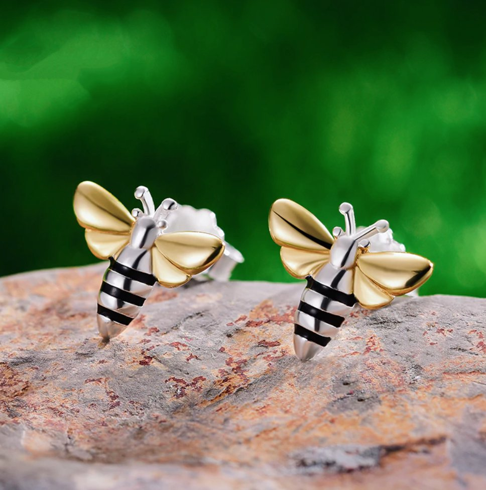 Sterling Silver | Gold Bumble Bee Stud Earrings Delicate Small Solid 925 - Egret Jewellery