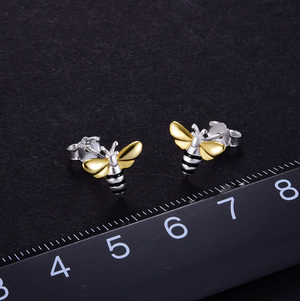 Sterling Silver | Gold Bumble Bee Stud Earrings Delicate Small Solid 925