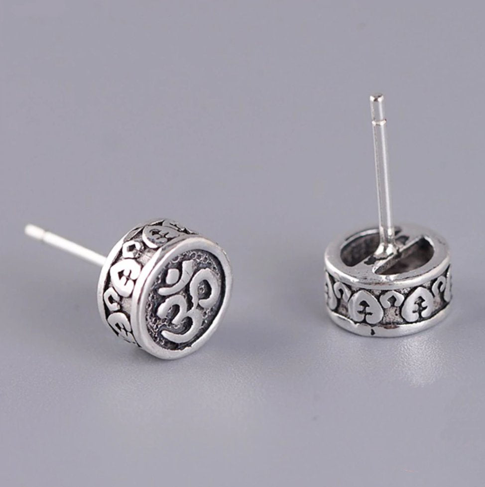 Solid 925 Sterling Silver OM Delicate Round Stud Earrings - Egret Jewellery