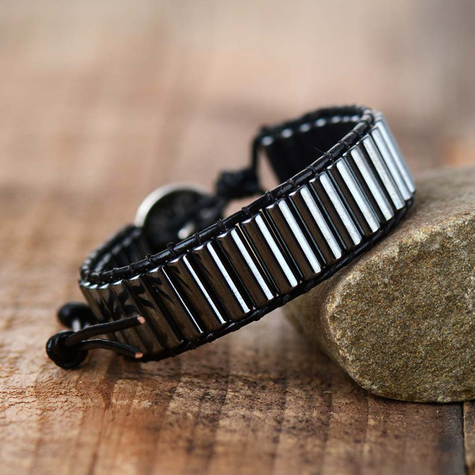 Beaded Hematite Leather Wrap Cuff Bracelet, Tube Silver Mens Oblong Stacking - Egret Jewellery