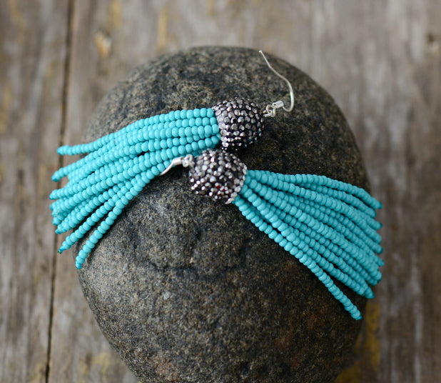 Seed Beads & Natural Turquoise Tassel Silver Drop Earrings - Egret Jewellery