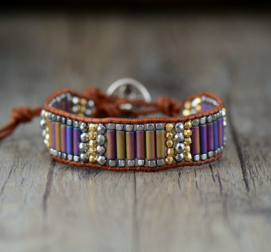 Oblong Leather & Steel Beaded Wrap | Cuff Bracelet