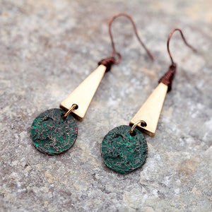 Copper Patina Hammered Geometric Drop | Dangle Earrings