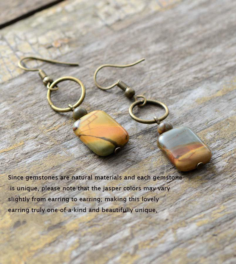 Square Bronze, Jasper & Agate Natural Stone Drop Earrings