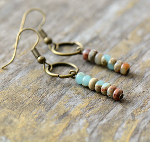 Boho beaded Amazonite Natural Stone Drop Bronze Earrings