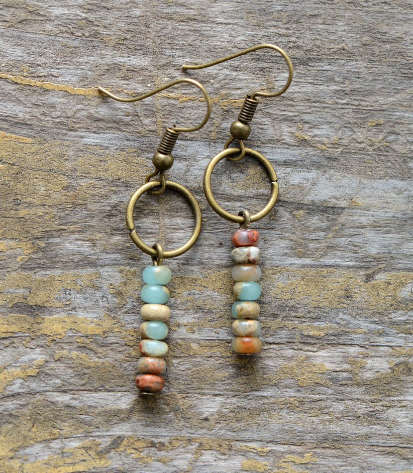 Boho beaded Amazonite Natural Stone Drop Bronze Earrings - Egret Jewellery