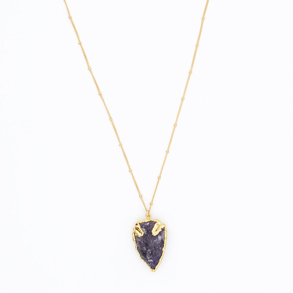 Gold Boho Natural Rough Druzy Arrowhead Amethyst Geode Necklace