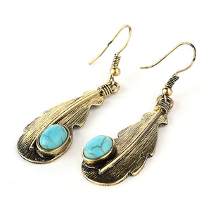 Bohemian Natural Stone Turquoise Leaf Gold Hook Dangle Earrings - Egret Jewellery