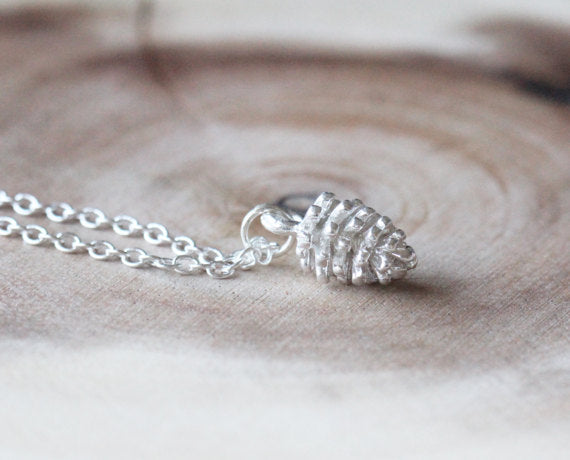 Dainty Sterling Silver Pinecone Necklace | Pendant - Egret Jewellery