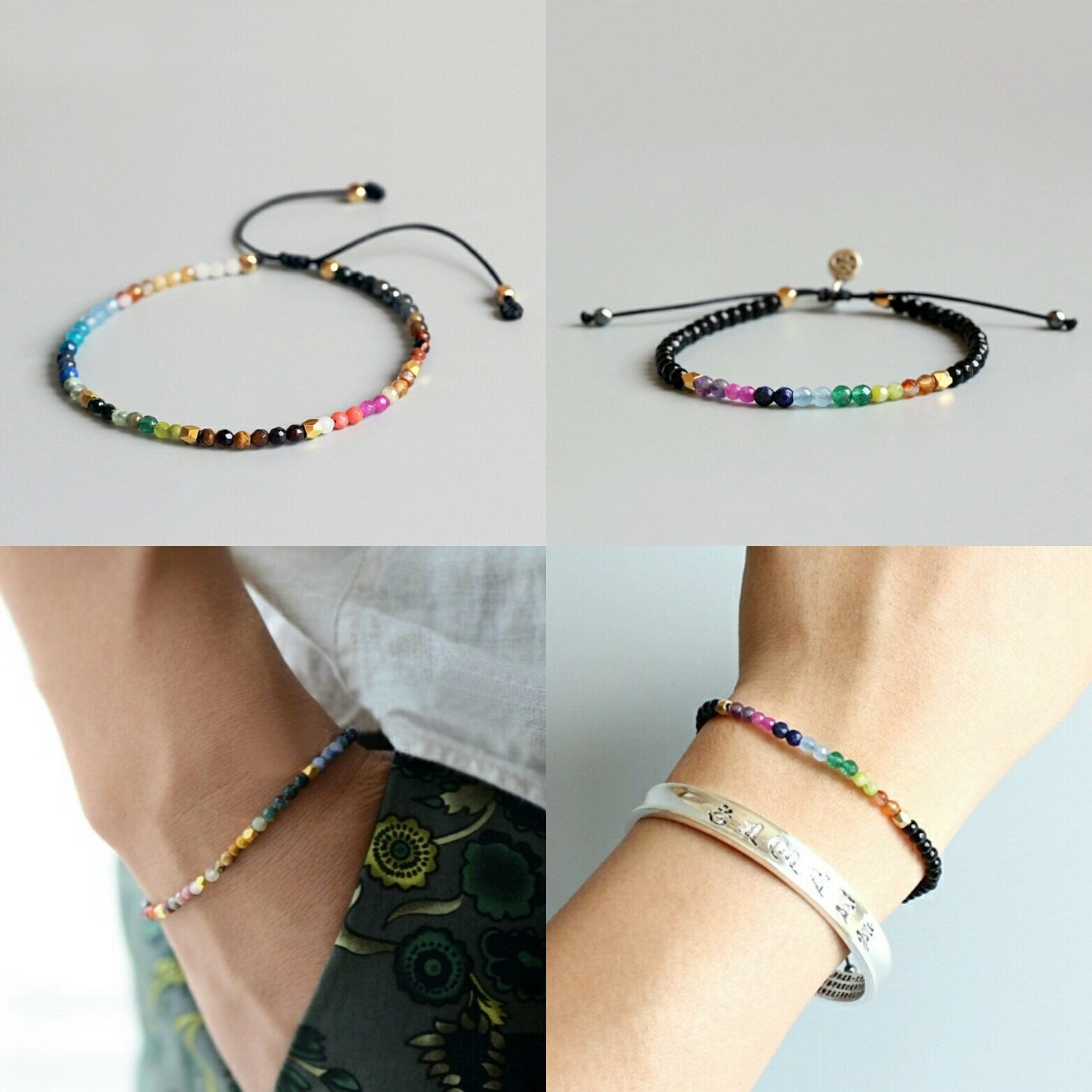 Natural 7 Stone Chakra Crystals Meditation Beaded Cord Bracelet