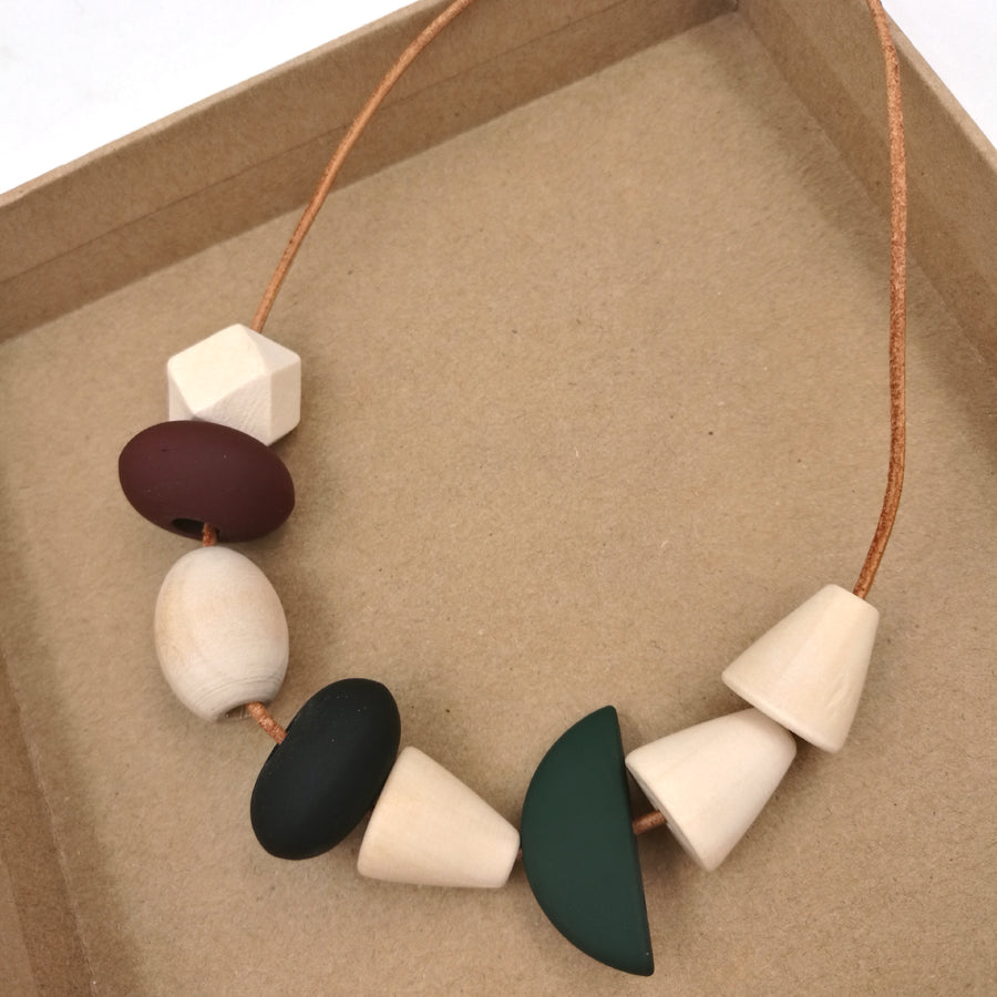 Boho Geometric Wooden Long Statement Beaded Necklace - Egret Jewellery